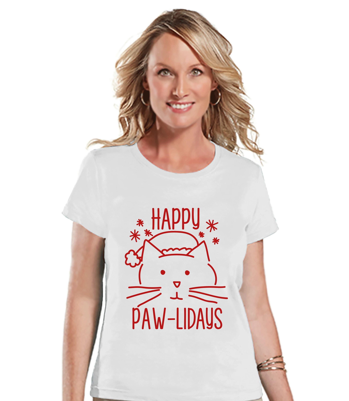 Women's Christmas Shirt Cat Holiday Shirt Christmas