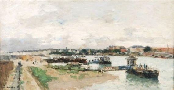 Jules-René Hervé - Paysage fluvial avec des bateaux et des jetées