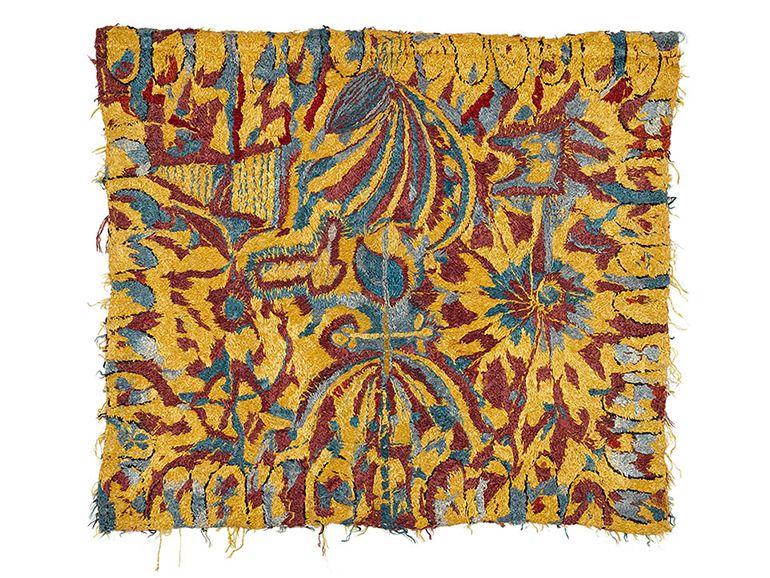 UNTITLED/ Madge Gill (1882–1961, England), n.d., London, England, colored and mercerized cotton embroidery, 36 1/4 x 30 3/4 in., Collection de l'Art Brut, Lausanne, Switzerland, cab-3154. Photo credits: © Collection de l'Art Brut, Lausanne. Atelier de numérisation—Ville de Lausanne