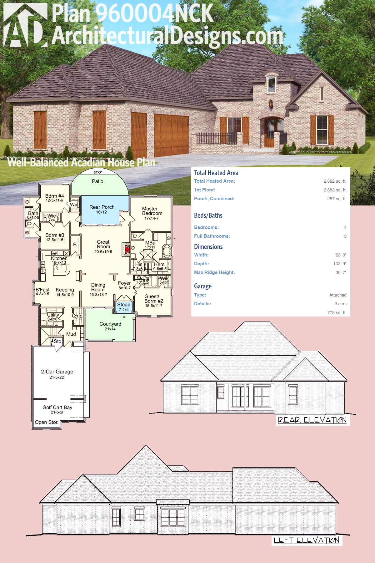 Architectural Designs Acadian House Plan 960004NCK gives you 4 beds and over 2,800 square feet of heated living space all one one floor. Ready when you are. Where do YOU want to build?