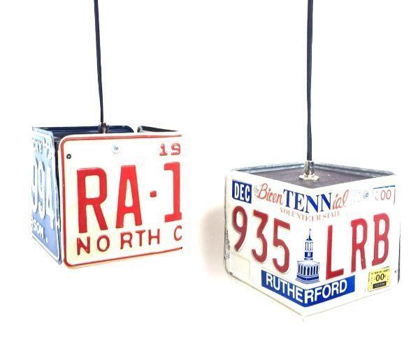 Steampunk Industrial Lamp Machine Age Pendant Light Vintage Car License Plate