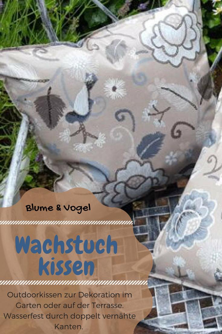 Wachstuchkissen Outdoor Kissen Blume Vogel Kissen