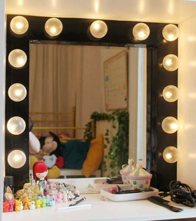 Diy Dressing Room Vanity Mirror With Light Bulbs All The