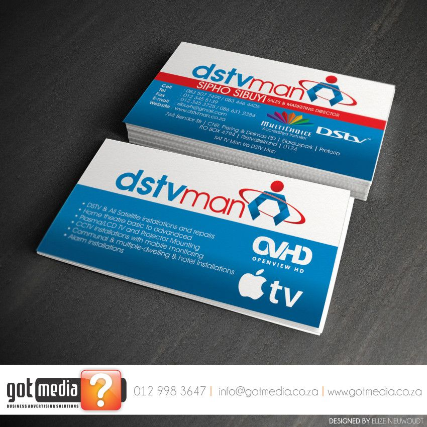 Business Card Design for DSTV Man #Businesscards #Graphicdesign ...