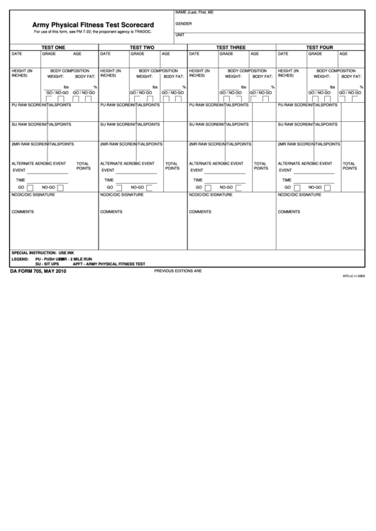 da form 705 fillable pdf DA Form 705, Army Physical Fitness Test Scorecard Download fillable ...