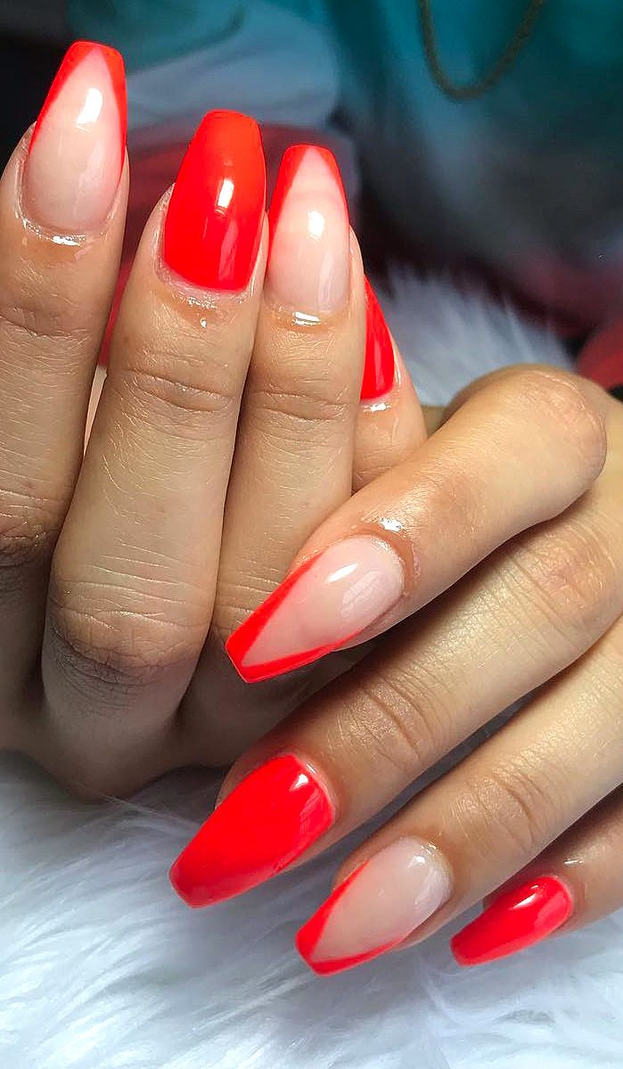 30 Acrylic Polish Matte And Simple Red Nail Designs Web Page 11 Red Ombre Nails Red Nails Acrylic Nails Coffin Short