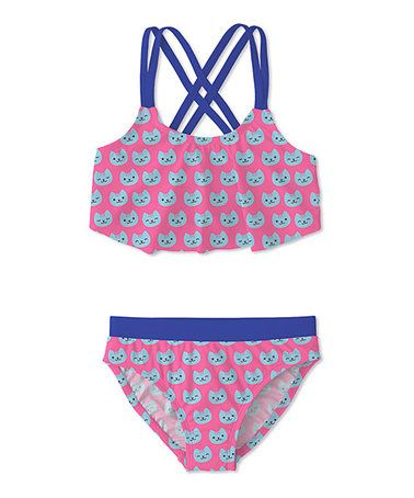 Another great find on #zulily! Pink & Turquoise Cat Ruffle Bikini - Toddler & Girls #zulilyfinds