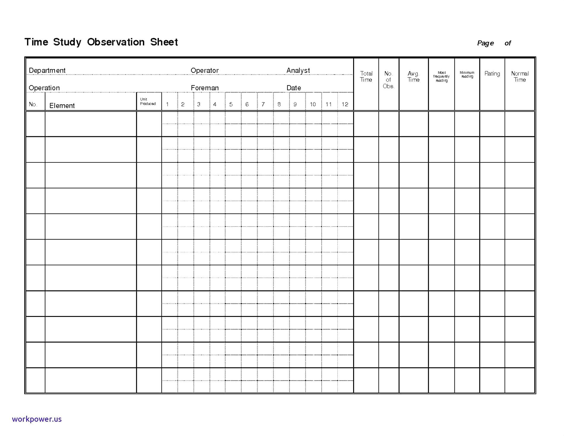 New Time Study Excel Template Exceltemplate Xls