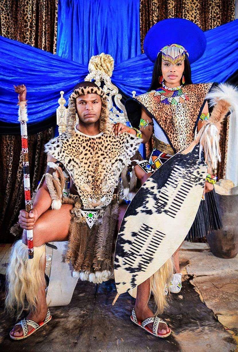 Zulu king and queen African wedding attire, Zulu