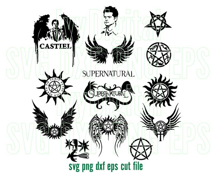 Supernatural Svg Super Hero Clipart Supernatural Logo Sign Pentagram Symbol Svg Decor Birthday Party Svg Eps Dxf Png Files Cameo Cri Svg Logo Sign Supernatural
