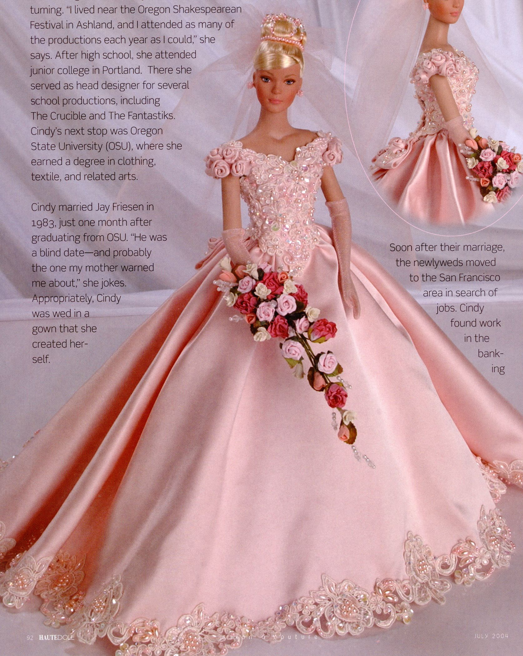 Pink bride, by Cindy Friesen | doll wedding fashions | Pinterest ...
