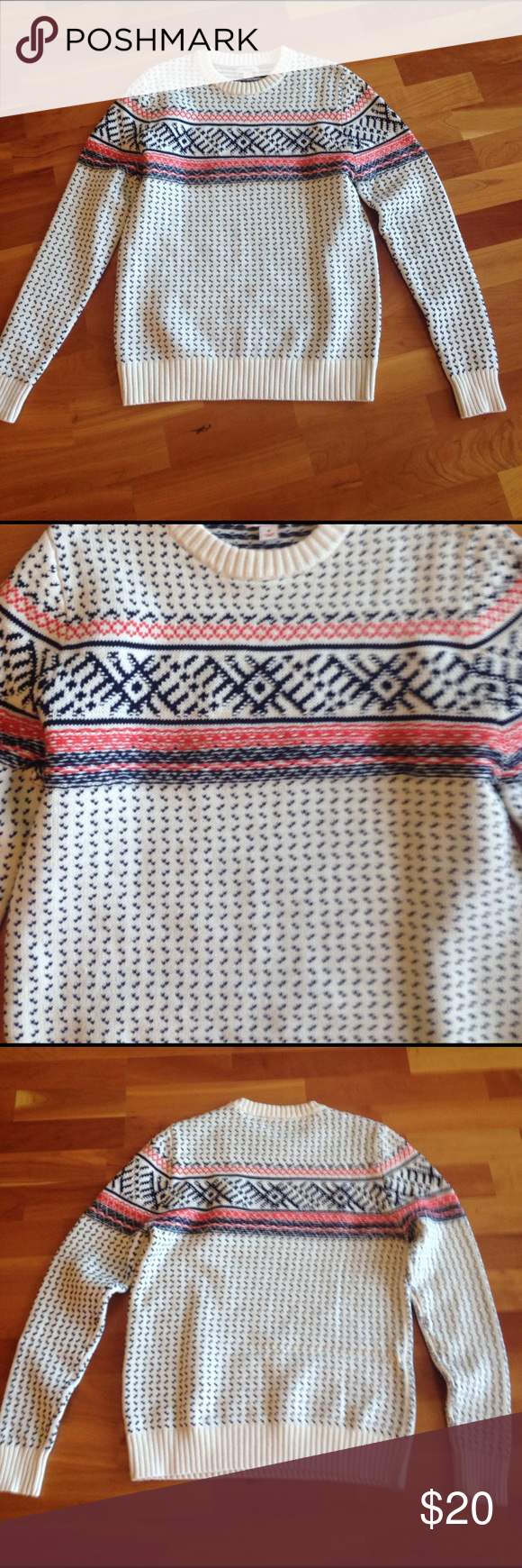 Merona sweater Very cute and comfortable cotton Nordic style sweater size small brand-new without tags's super preppy and cute orange blue and cream Sweaters Crew & Scoop Necks