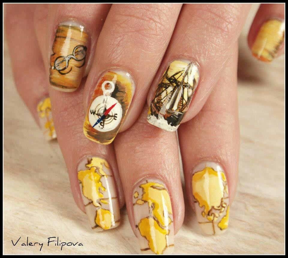 Old world map nail art | Nails | Pinterest | Map nails and Makeup