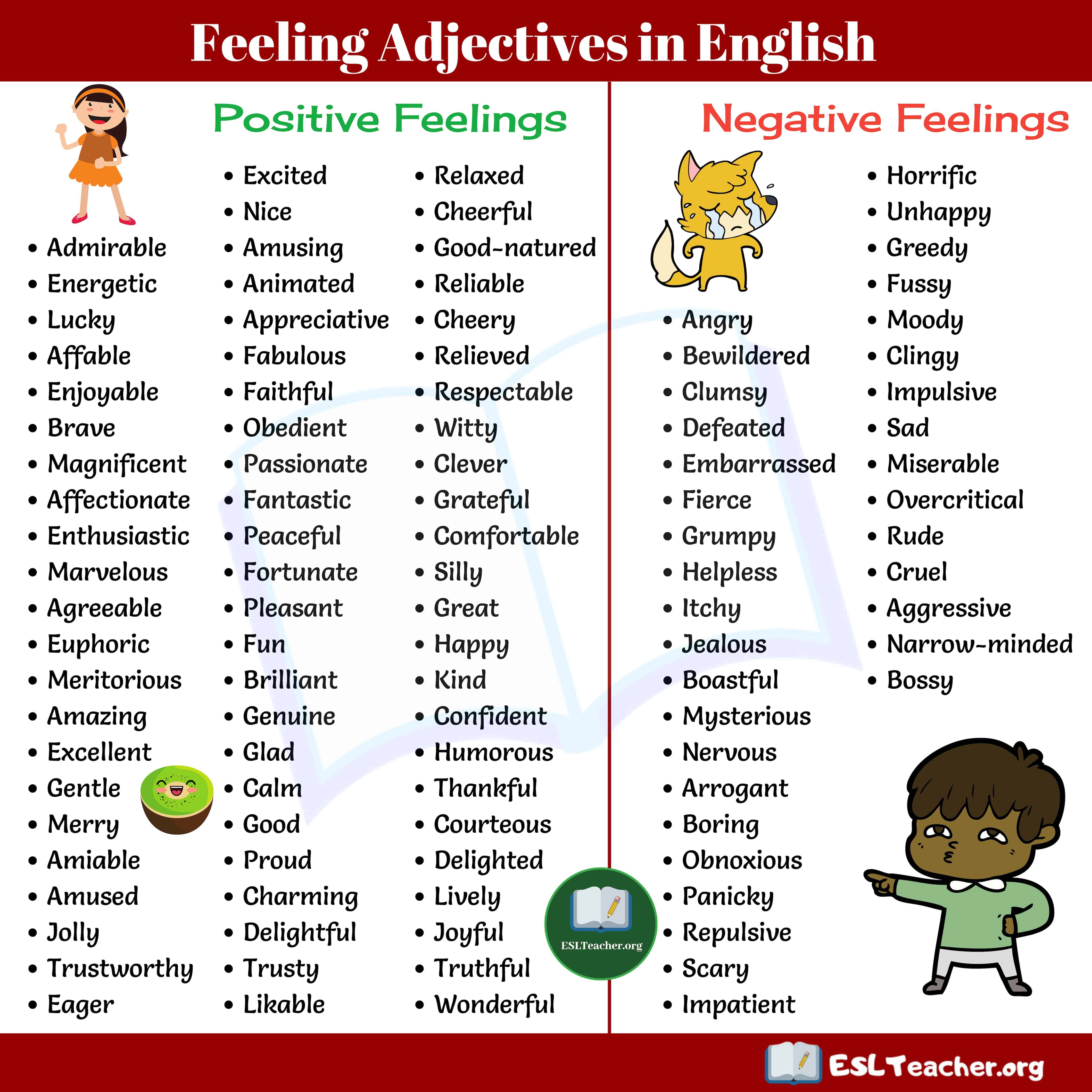 Feeling Words 100 Useful Words For Talking About Feeling