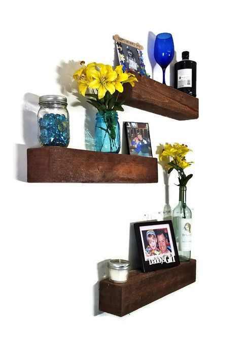 3 Pieces Wall Decor For Living Room: 3 Piece Wood Floating Shelf Set