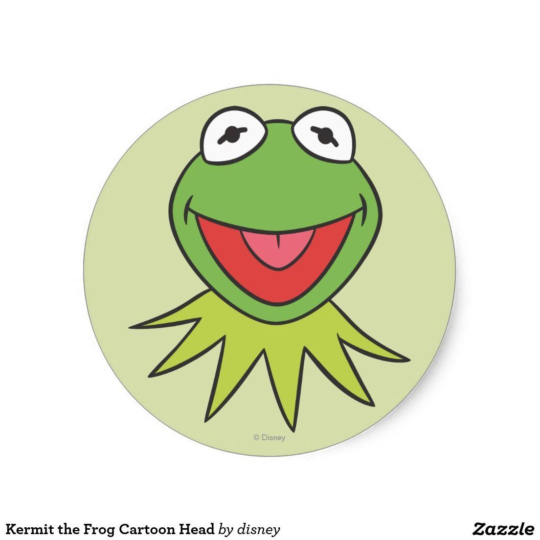Kermit the Frog Cartoon Head Round Sticker   muppets   Pinterest