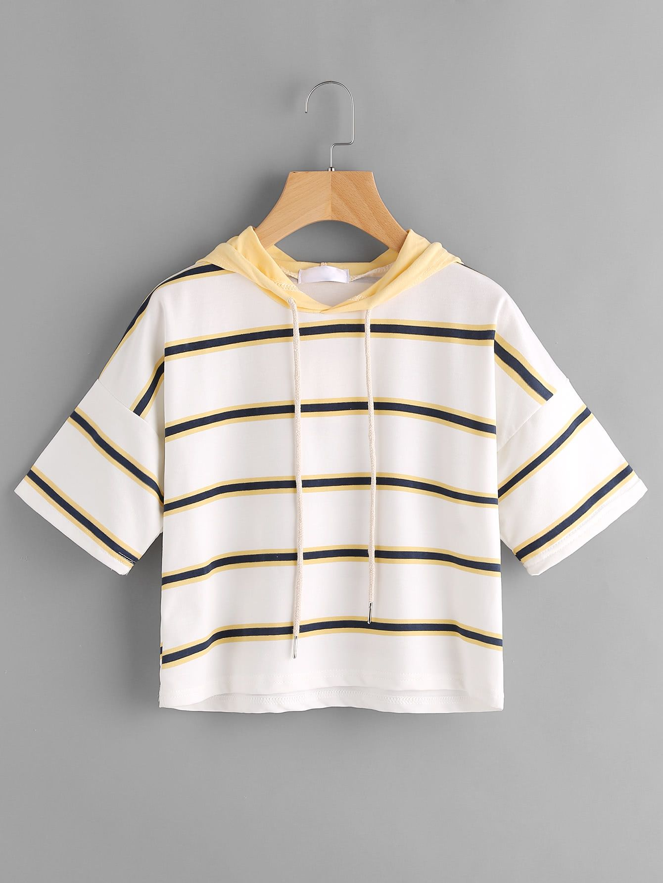 Shop Hooded Drawstring Striped Tee online. SheIn offers Hooded Drawstring Striped Tee & more to fit your fashionable needs.