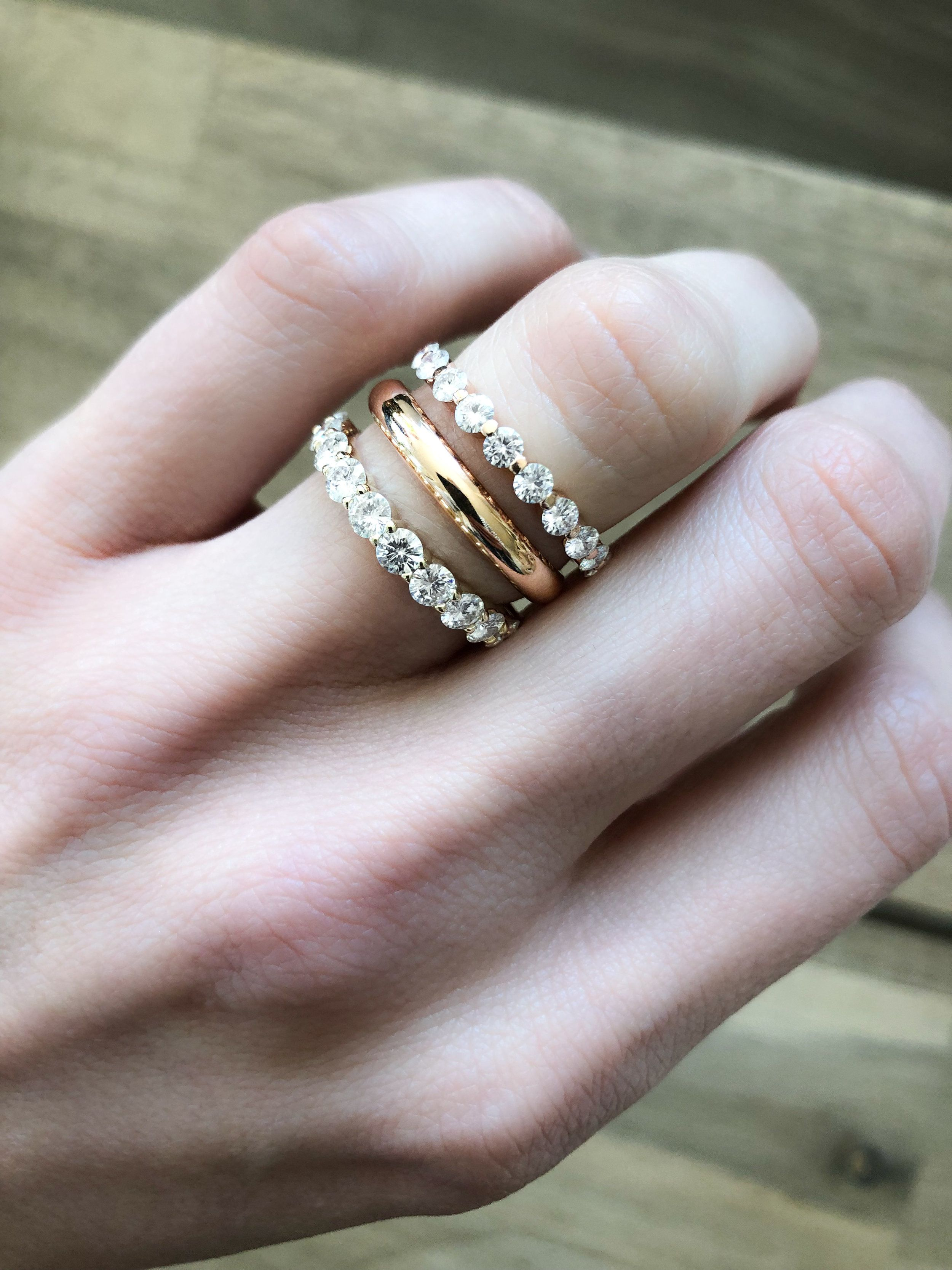 Megastellar Band Diamond Wedding Bands Rose Gold Engagement