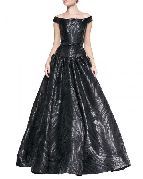 7f398c1d50b6 Christian Siriano Women s Off Shoulder Belted Marble Pattern Gown Silver  Marble 2