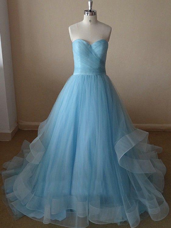 affordable long blue sweet heart prom dress | Cheap prom dresses Sale