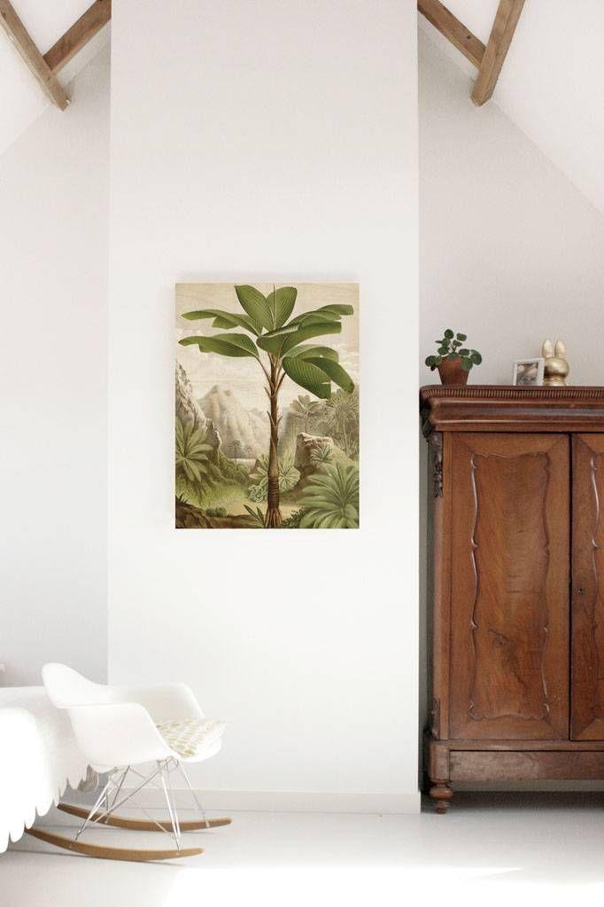 Bananenboom hout geprint. Afmeting 120 x 180 cm. Hout