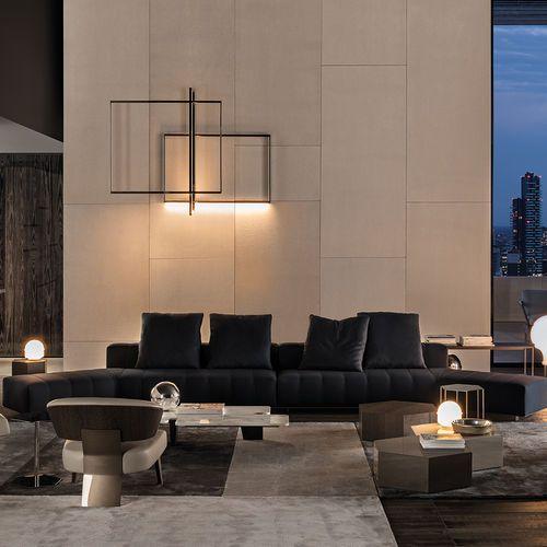 Contemporary Sofa Leather Fabric By Rodolfo Dordoni Freeman