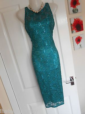 STUNNING JANE NORMAN SIZE 10 GREEN LACE SEQUIN BODYCON DRESS FAST POSTAGE