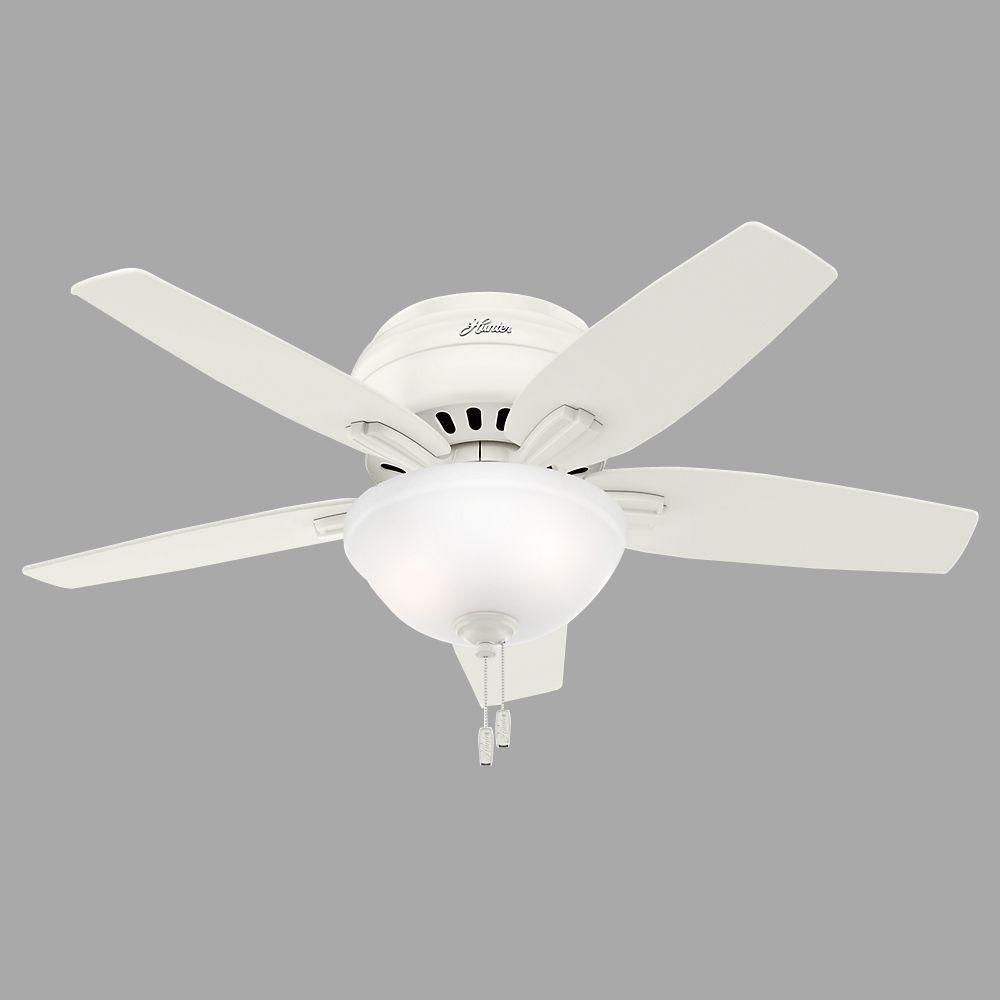 Indoor Low Profile Brushed Nickel Ceiling Fan With Light Kit