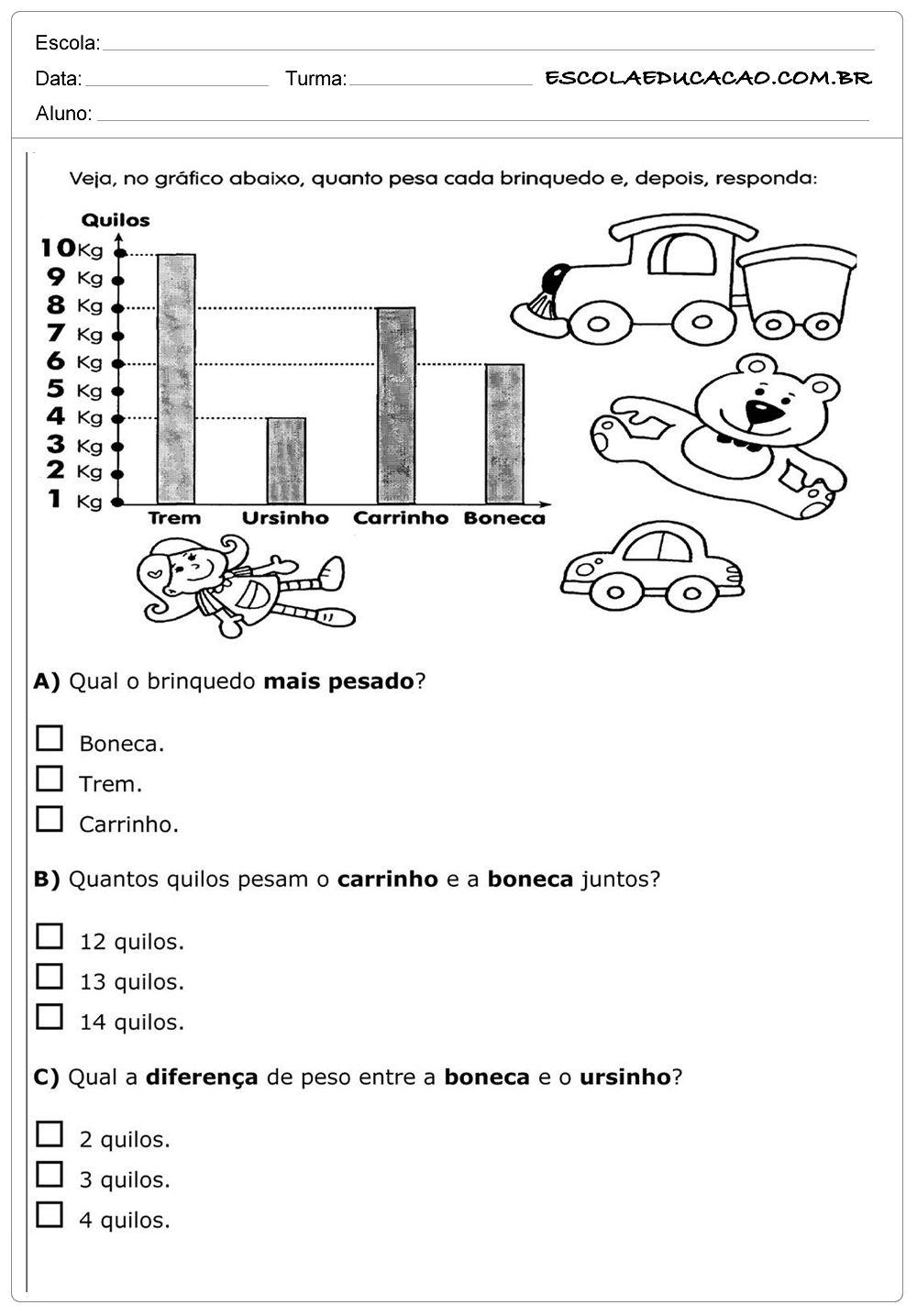 Excepcional Atividades de Matemática 2º ano - Quilos | BANCO DE TAREFAS  NC68