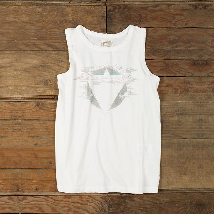 band tees are back -- scoop up our muscle tee in vintage white unsinkable for your next music festival