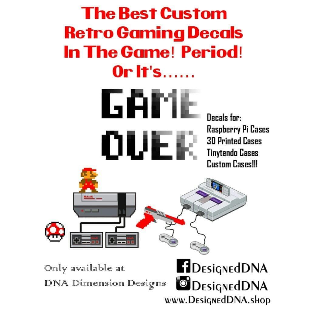 Retro Gaming Decals for Raspberry Pi NES SNES Cases