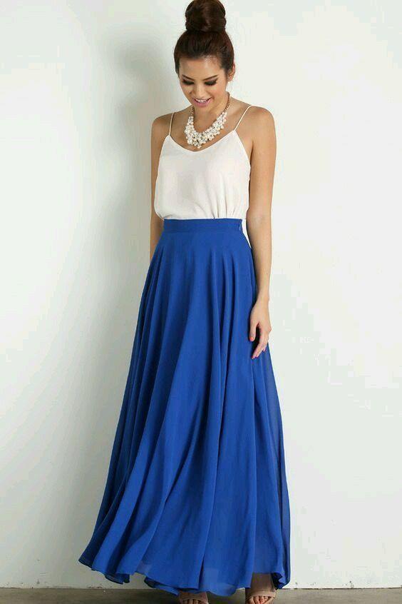 Falda azul electrico | work work | Pinterest | Faldas azules Azul elu00e9ctrico y Falda