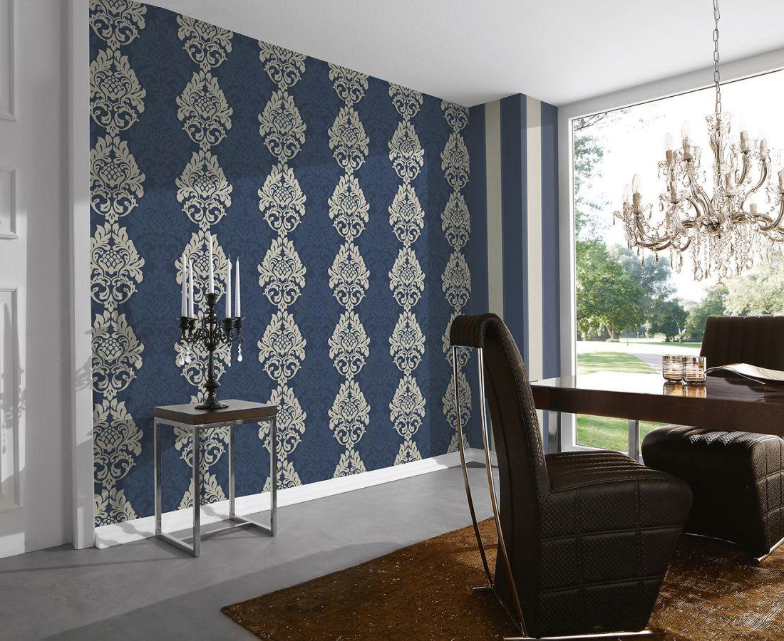 a.s. création tapete 961905: tapete, blau, metallics, barock, büro ... - Wohnzimmer Tapete Blau