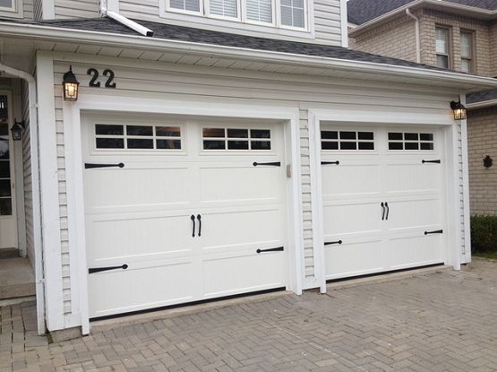Standard double garage door size with carriage style for What is the size of a standard garage