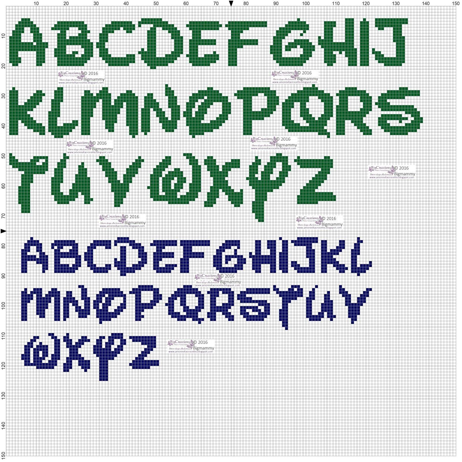 Amorevitacrocette alfabeti disney a punto croce punto for Schemi punto croce alfabeto disney