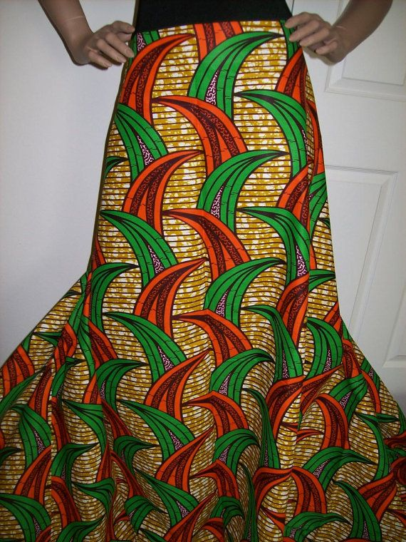 6 Yards Orange and Green African Print Wholesale/ African print ...