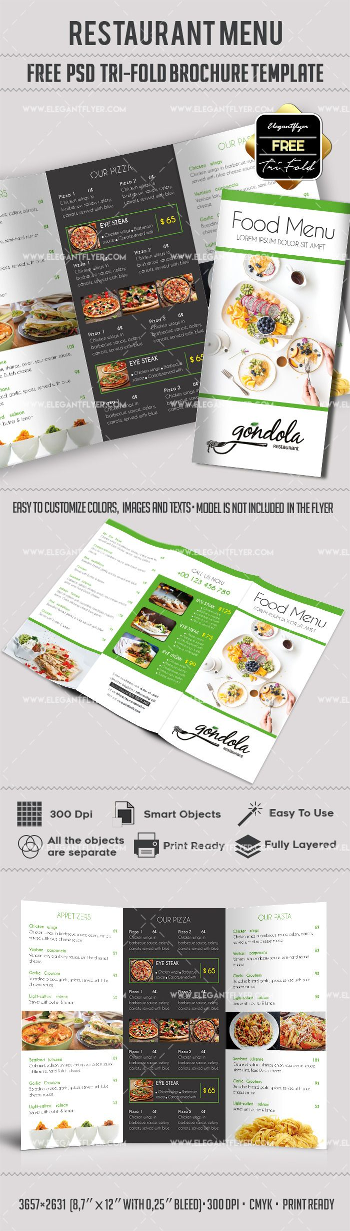 Free Food Menu – Restaurant Brochure Template in PSD