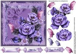 Enchanted Flora In Blue And Lilac Tones Topper