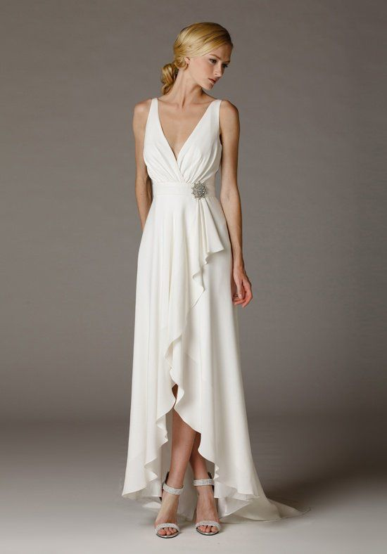 Surplice Style V Neck Wedding Dress With A Low Cut Back And Hi