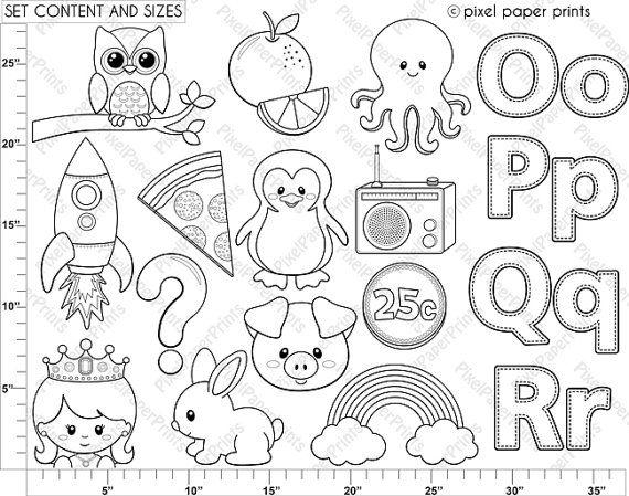 Alphabet Digital Stamps Part 5 OPQR clip art by