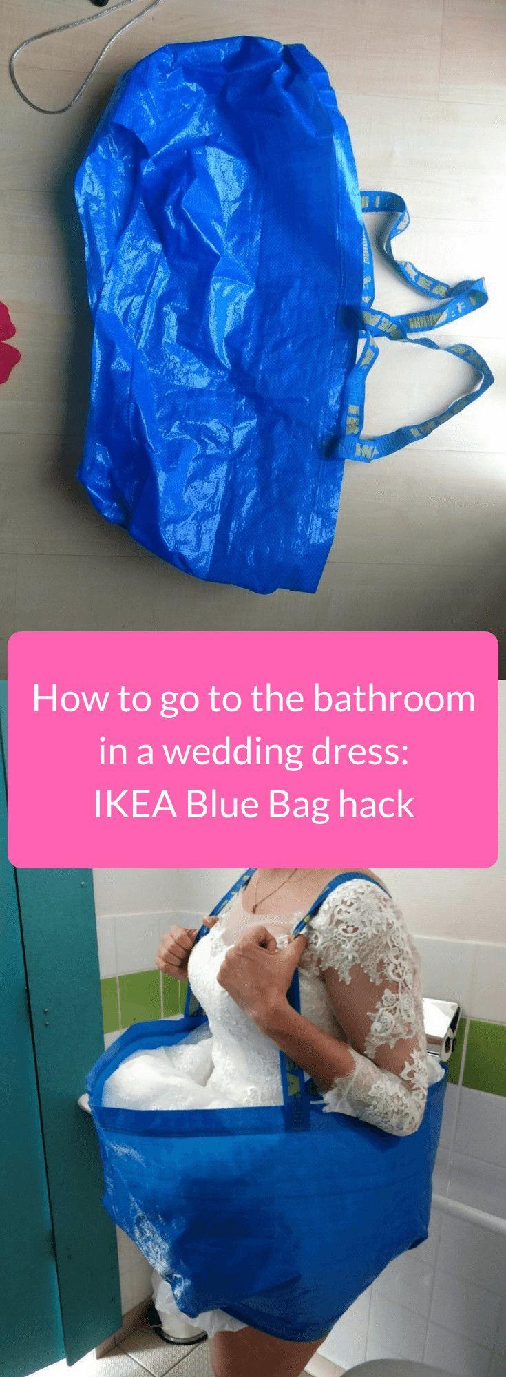 How To Go The Bathroom In A Wedding Dress An Ikea Blue Bag Hack