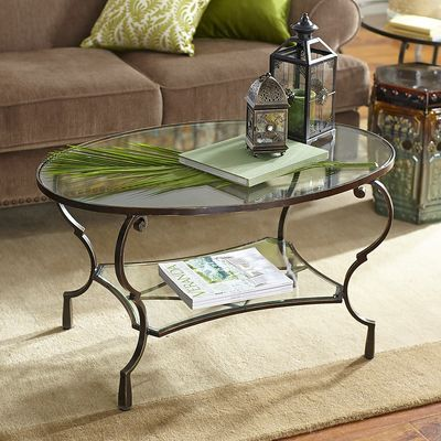 Chasca Glass Top Brown Oval Coffee Table Glass Coffee Table
