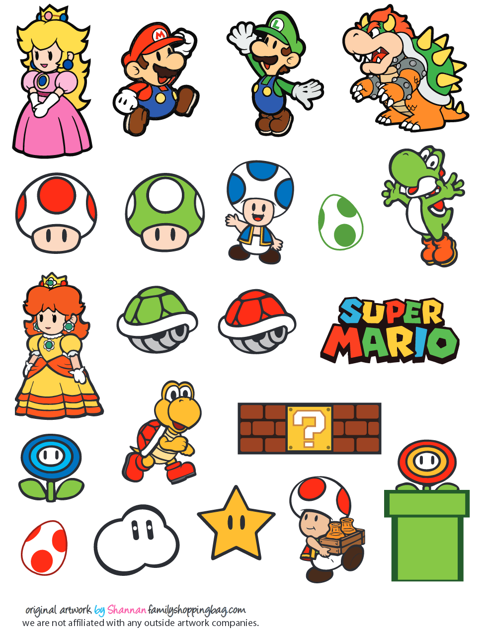 It is a graphic of Exceptional Super Mario Party Printables