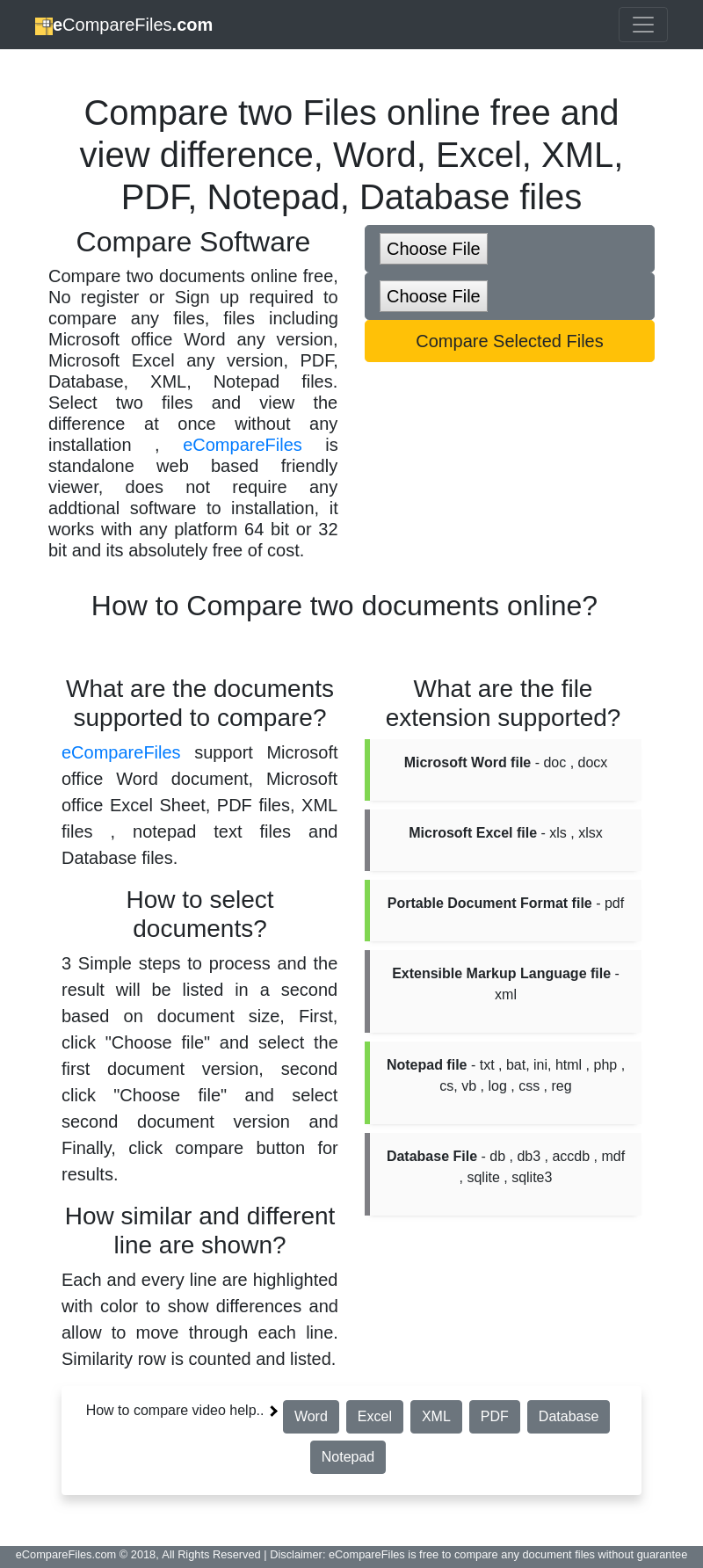 How to Compare two documents online? 3 Simple steps to process and the result will be listed in a second ba… | Office word. Microsoft office ...