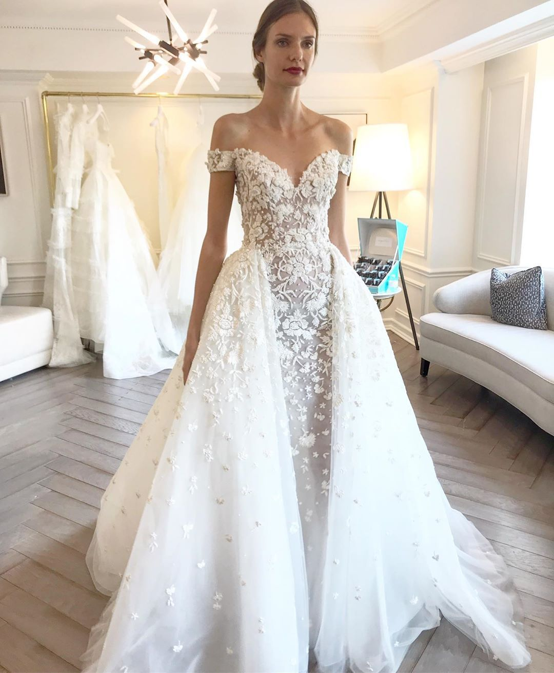 Couture Bride Style Fabia Off Shoulder Floral Embroidered Sheath Gown With Ballgown Overskirt From Zuhair Murad Spring 20 Ball Gowns Wedding Dresses Dresses [ jpg ]