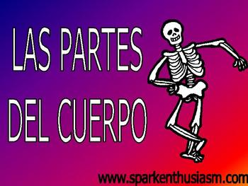 Body Parts (Las partes del cuerpo) Power Point in Spanish (46 slides)