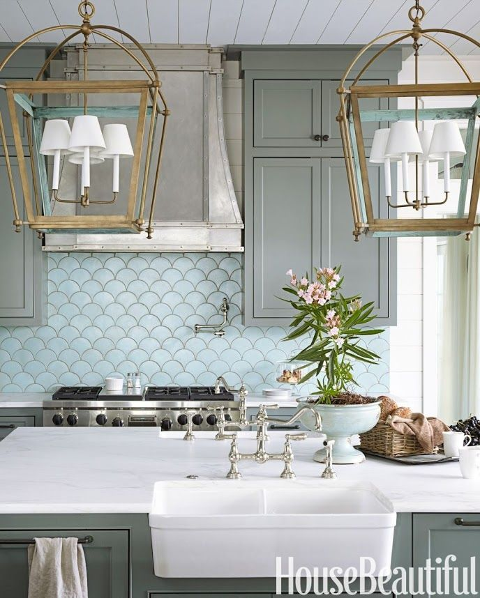 Love The Nickel Hood Brass Lanterns And Graygreen Cabinets Impressive Kitchen Lanterns Design Inspiration
