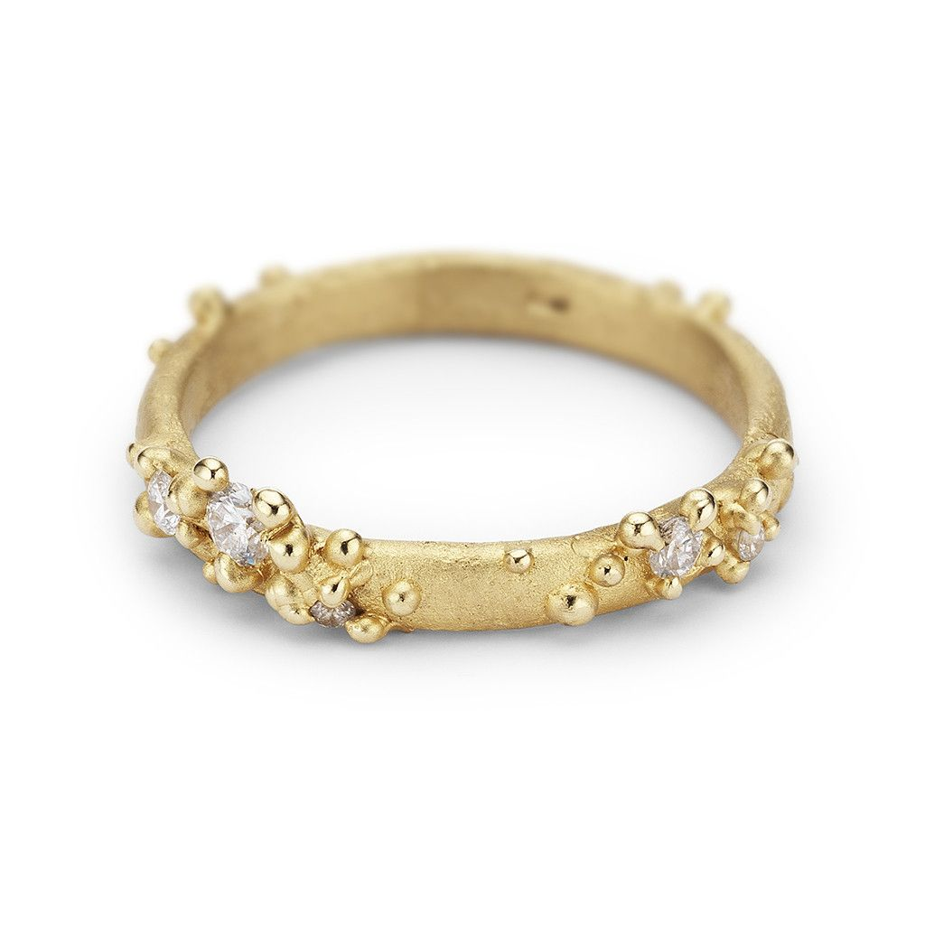 alternative wedding bands Unique alternative wedding band or stacking ring from Ruth Tomlinson featuring white diamonds cast amongst granules