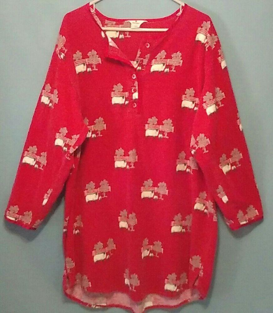 WOOLRICH Women L XL Red Flannel Nightgown Night Shirt Sheep Pattern   Woolrich  Sleepshirt  Everyday 50a6fcdde
