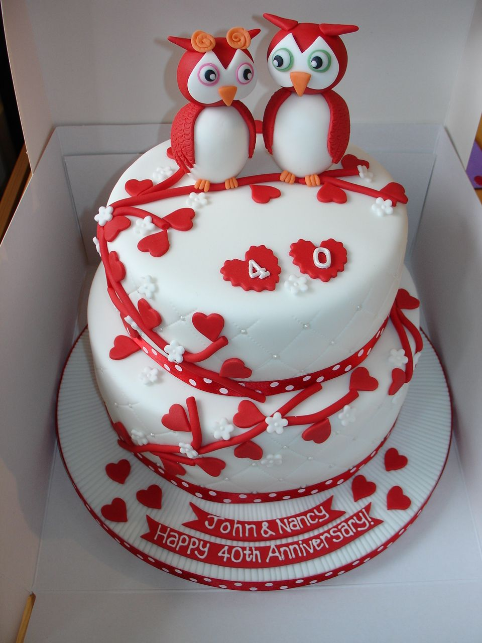 40th Wedding Anniversary with Owls xMCx | Wedding Anniversary Cakes ...